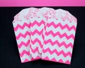 """20 Pink Chevron Stripe Mini Bitty Bags - 2.75""""x4"""""""