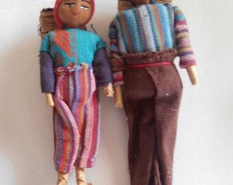 1950's handmade Guatemalan dolls, set of 2
