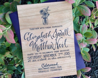 Real Wood Wedding Invitation