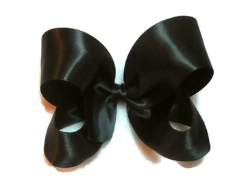 Black Satin Hair Bow,4 Inch Boutique Hair Bow, Black Hair Bow,Toddler Hairbow, Girl Satin Bow, Satin Hair Clip, Photo Prop Hair Bows, 904