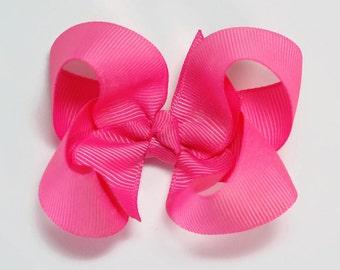 Hot Pink Hair Bow, Toddler Hair Bows, Girl Hair Bow, Baby Girl Bows, Alligator Clip, Barrette, Snap Clip, 300