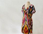 silk ikat wrap tunic, dress or robe, silk kimono dress, draped tunic, any size, MADE TO ORDER, Uzbek silk, slimming effect, slim tunic