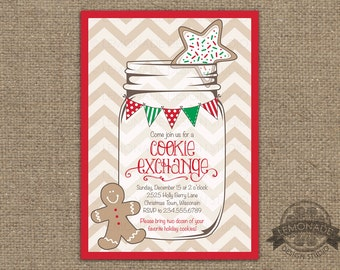 Cookie Exchange Invitation - Christmas Party Invitation - Christmas Invite - Chevron - Mason Jar - Bunting Invitation - Holiday Party Invite