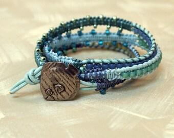 wrap bracelet pewter fish button beaded aqua blue leather cord