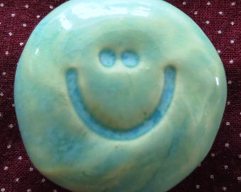 SMILEY FACE Pocket Stone - Ceramic - BLUEBELL Art Glaze - Inspirational Art Piece