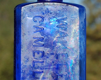 Deep COBALT BLUE colored - antique bottle - Wakelee's CAMELINE - San Francisco Cal. hand bown from 1800s