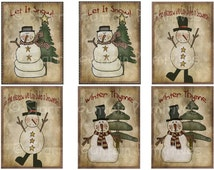 Primitive Snowman Snowmen Set of 6 Winter Christmas Pantry Logo Label Jpeg Digital File for Crock  Jar, Labels, Pillows, Doll