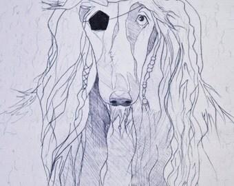 Pirate Greyhound Card Art Pring