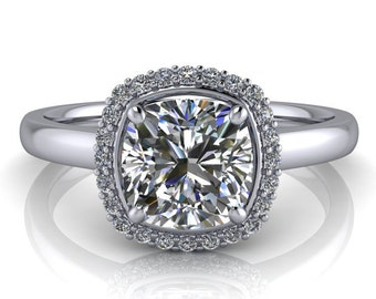 Engagement Ring Diamond Halo Cushion Cut Center Gold Platinum or Palladium Classic Cushion