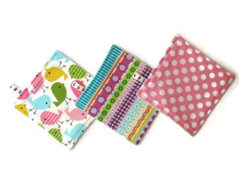 pack of 3 reusable cloth wipes pink bird set