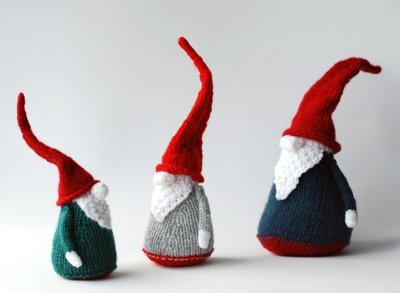 3 Gnomes - pdf knitting patterns. Christmas Ornament. New Year Ornament.