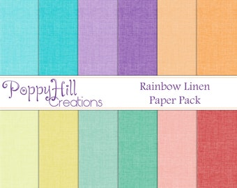 INSTANT DOWNLOAD - Printable Rainbow Linen Digital Paper Pack - For Commercial or Personal Use - Digital Design