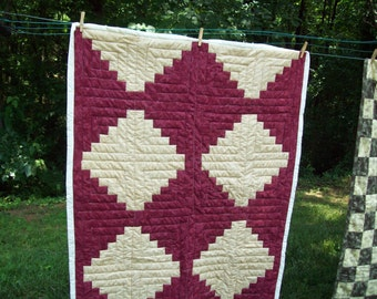 "Burgundy and Tan Paisley Lap Quilt.  40"" X 50"" Free Shipping"
