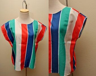 80s Multicolor Vertical Striped Blouse Size Large