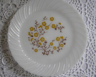 Milk Glass Plate with Yellow Floral Flower Motif Pattern, Kitchen Wall Hanging, Serving Dish