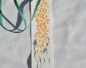 Hand painted apricot daisy bookmark; gift bookmark w /green ribbon; book lover gift