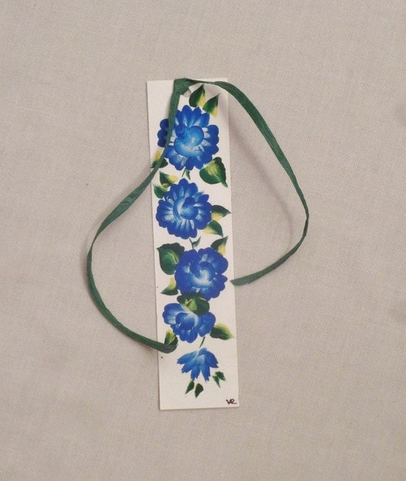Blue Rose  bookmark; hand painted paper bookmark; flower bookmark