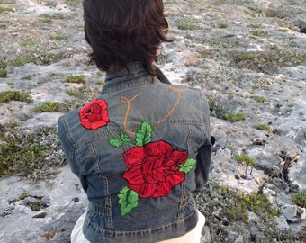 Beautiful Hand Embroidery Meets a Clasic Jean Jacket!!! One of a Kind!!!