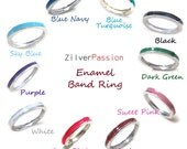 3mm Enamel Band Ring, Choose the color - Blue Turquoise, Pink, Green, Red, White, Black (Size 4-12)