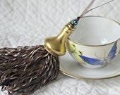 Gold, Blue, Brown Decorative Handmade Tassel with Upcycled Vintage Gold Porcelain Salt Shaker Top
