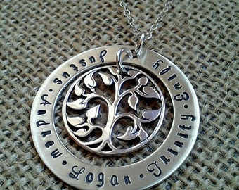 Tree of Life Necklace, Grandkids Necklace, Kids Names Necklace, Mother Necklace, Grandma Necklace, Family Names Necklace, Hand Stamped