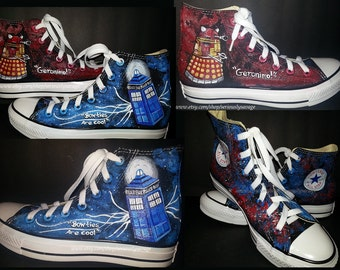 Dr. Who Dalek and Time Traveling Tardis Doctor Who Custom Painted Shoes Converse Vans Toms