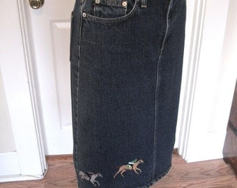 Vintage 90s Ralph Lauren Denim Skirt with Embroidered Race Horses Equestrian