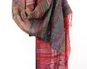 Hand woven scarf in Red to Green  (1100)