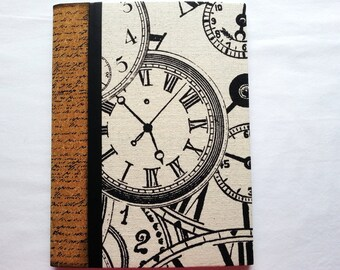 Clockface print canvas altered composition notebook with cork binding