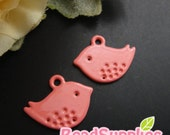 CH-ME-01789- Nickel Free Colored Enameled Petite Bird, coral pink, 4 pcs