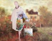 Claude Monet The Artist's Garden in Argenteuil  cashmere Coat Cape Poncho woman coat, felted poncho cape coat winter  plus size