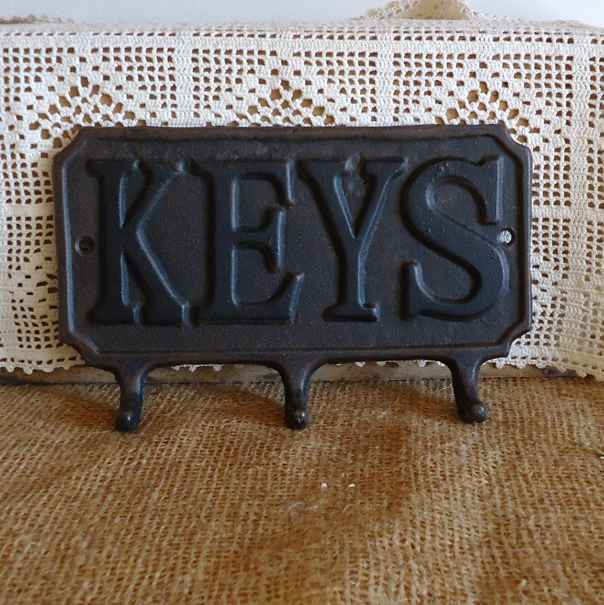 Wall Decor With Key Hooks : Key hook cast iron hardware wall decor home by raggedyree