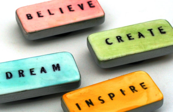 Inspirational Domino Magnets, Create believe, dream, inspire