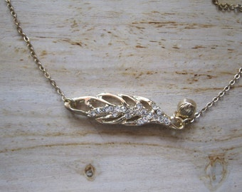 Gold Rhinestone Studded Feather Necklace - Feather Necklace - Rhinestone Feather Necklace - Feather