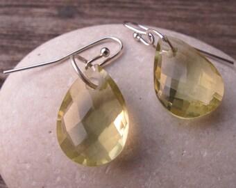 Quartz Silver Earrings- Lemon Quartz Earrings- Topaz Earrings- Green Stone Earrings- Gemstone Earrings- Dangle Earrings- Silver Earrings