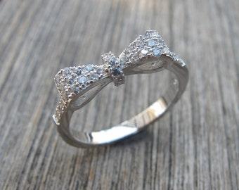 Bow Rings- Silver Rings- Crystal Rings- Gemstone Rings- Stone Rings- Fashion Rings- Rings-Bow Crystal Rings-Bow Silver Rings-