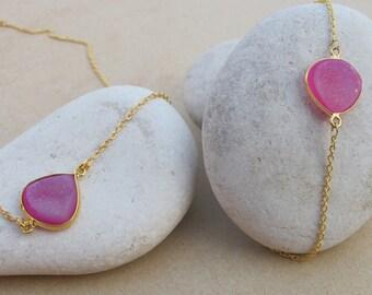 Pear Shape Druzy Jewelry Set- Pink Necklace Bracelet Set- Simple Pink Gemstone Necklace Bracelet