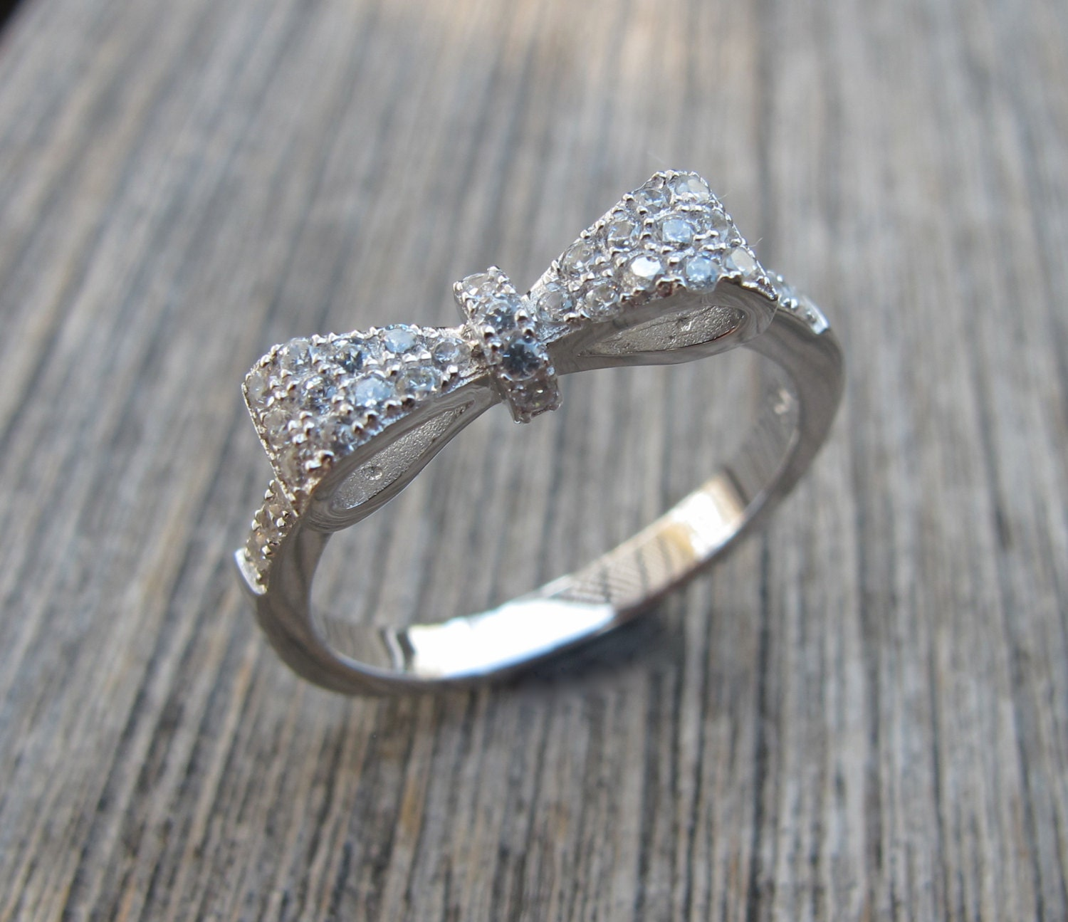 sterling silver bow ring bow promise ring dainty