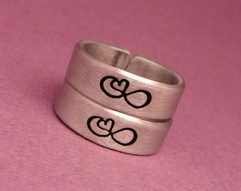 Infinity Heart - A Set of 2 Hand Stamped  Aluminum Rings