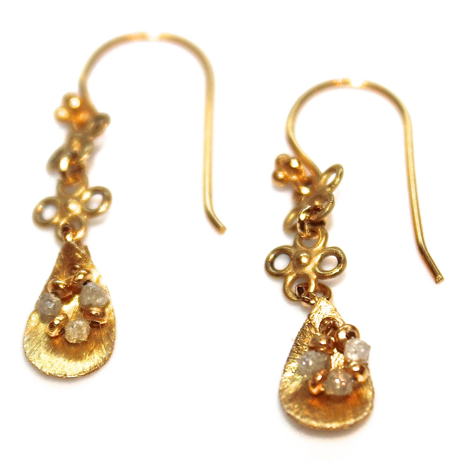 gold earrings upcycled earrings real diamond earrings by. Black Bedroom Furniture Sets. Home Design Ideas