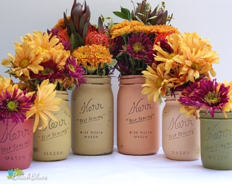 Fall Table Decorations / Autumn Decor / Thanksgiving Centerpiece / Painted mason jars / rustic home decor / red orange green / set of 6