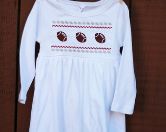 Smocked Alabama Football Dress- smocked elephant- alabama football