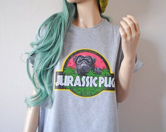 Jurassic Pug Grey T-Shirt hipster tumblr cute gift 90s oversized dog