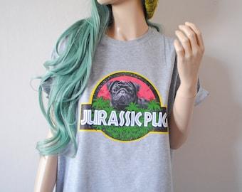Jurassic Pug Grey T-Shirt