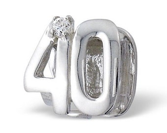 NUMBER 40 FORTY 40th BIRTHDAY Charm Bead Charm Bead 925 Sterling Silver Fits  All European Charm Bracelets