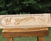 Milwaukee Brewers Cribbage Board Made From Solid Oak