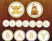Lion King Themed Welcome Baby Banner Cut Outs- Instant Download Digital Files