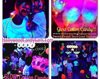 Glow Cones, Glow in the dark light up Cotton Candy Sticks, Neon,  Black Light Party light Up Cotton Candy Favors  Mitzvahs Weddings IN STOCK