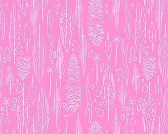 Wee Wander:  Sarah Jane - Nature Walk Pink - 1 Yard Cut