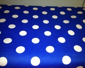"One 20"" X 20"" Royal Blue with White Polka Dot Square Table Toppers only"